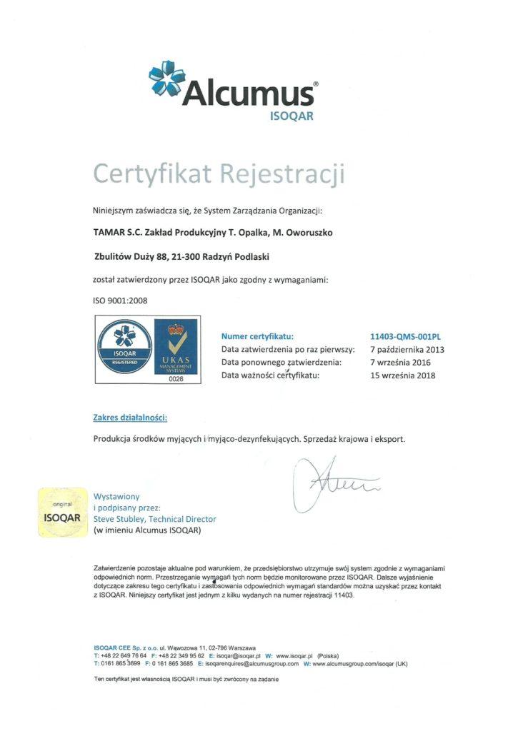 Tamar - Certyfikat ISO